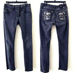 MISS ME Gray Sequin Cross Pocket Straight Leg Jean
